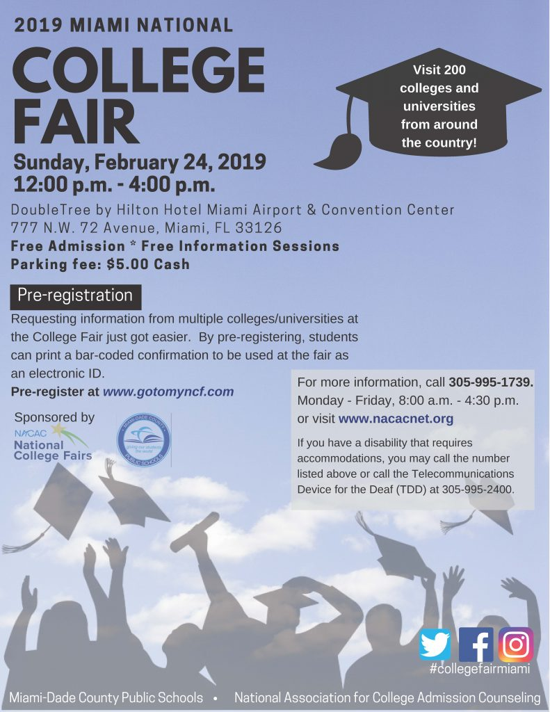 2019 Miami National College Fair @ Double Tree by Hilton Hotel Miami Airport & Convention Center